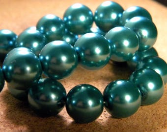 20 glass Pearl iridescent 12 mm - blue-PE195-8 beads