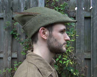 Medieval Robin Hood Hat, Woodsman - Green Wool