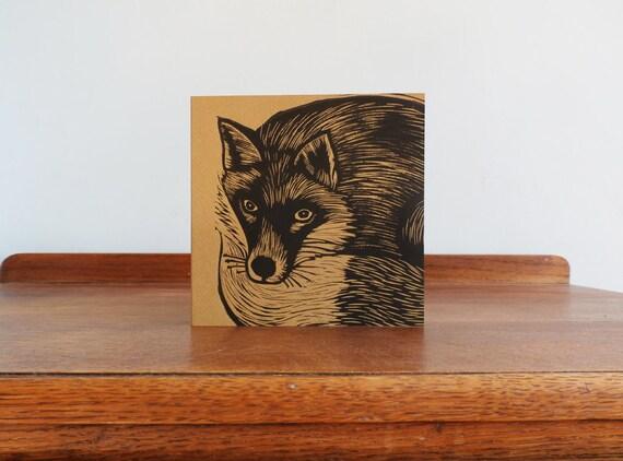 Fox, Woodland Animal, Original Hand Printed Card, Linocut Card, Blank Greeting Card, Brown Kraft Card, Free Postage in UK,