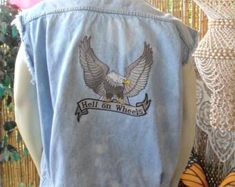 Vintage Levis Distressed  -Studded Denim Vest - Biker Vest --Hell on Wheels ---Size X- Large Mens