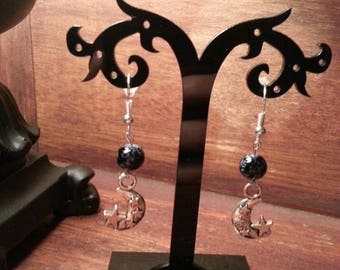 Beaded moon and stars dangle earrings