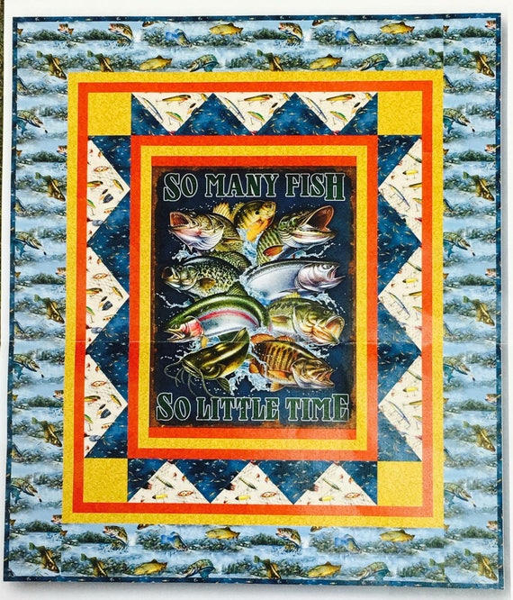 So Many Fish So Little Time Bass Fish Quilt Kit