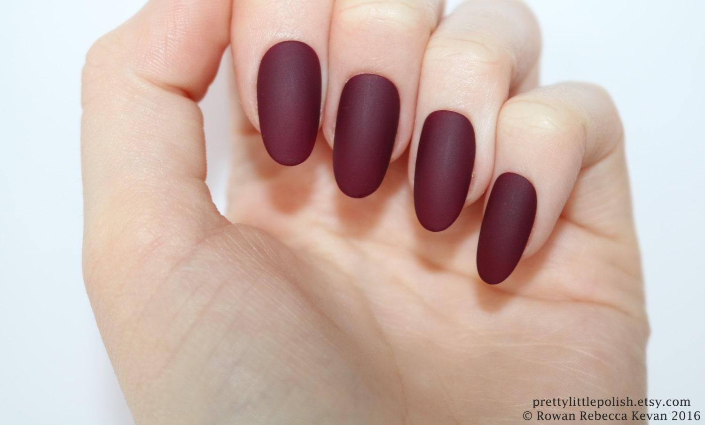 Matte burgundy oval nails Nail designs Nail art Nails
