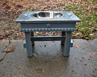 Single Bowl Feeder Large Dogs, One 3 qt Bowl Raised Pet Feeder, Elevated, Antique Gray Cottage Chic Made to Order