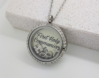 necklace first communion pendant large christina products personalized silver