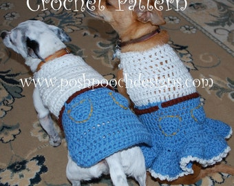 Instant Download Crochet Pattern - Dog Sweater - Denim and lace Dog Sweater - Small Dog