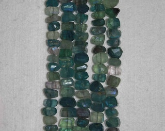 AB, AB Blue Flourite, Nugget Bead, Faceted Nugget, Semi Precious, Blue Flourite Bead, Shaded Blue, Half Strand, 10-12 mm, AdrianasBeads