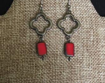 Red rectangular bead earrings