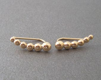 Ear-lobes 18kt gold plated semi-boules pattern outlines cuff earrings