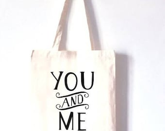 "TOTE BAG 100% cotton ""you and me"""
