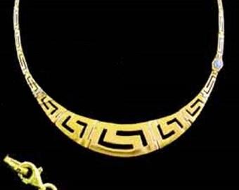 24k Gold Plated Sterling Silver Necklace w/ Greek Key Motif Links & Opal (16mm)