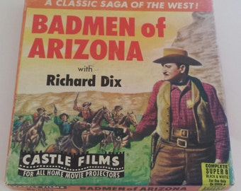 "Vintage Super 8 Wild West Movie Classic ""Badmen of Arizona"" Richard Dix Castle Films #5002 B&W/Silent Collectible Retro Litho Graphics Box"