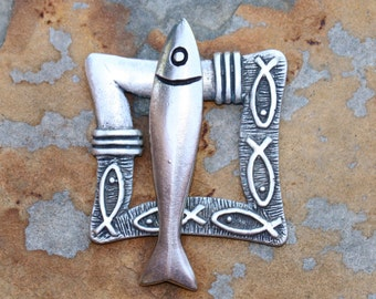 44mm Square Pewter Fishy Frame and Fish Bar Belt Buckle, Decorative Clasp