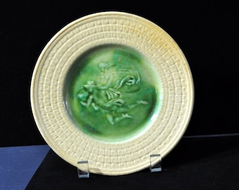 Etruscan Mythical Majolica Plate, Vintage majolica, majolica pottery, yellow, green, Fabulous gift, #1526