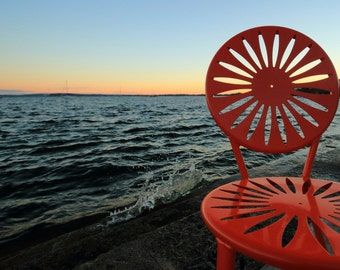 Madison, WI - Wrapped Canvas Print Art - University of Wisconsin UW Memorial Union Terrace Chair at Sunrise - Photography