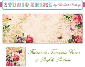 DIY Facebook Cover Package - Facebook Timeline Cover and Profile Picture - Timeless Elegance - Blog Banner Digital Instant Download