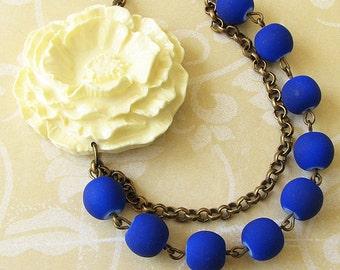 Statement Necklace Navy Blue Jewelry Flower Necklace Blue Necklace Bib Necklace Gift For Her