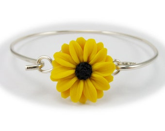 Black Eyed Susan Bracelet Sterling Silver Bangle - Black Eyed Susan Jewelry, Yellow Coneflower