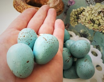 Robin Eggs Set of 3 Hand Sculpted & Painted Aqua Blue Life-size Faux Brown Speckled Bird Eggs ~ Handmade Shabby Boho Wedding Spring Decor