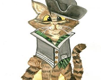 Pirate Cat Watercolor Print