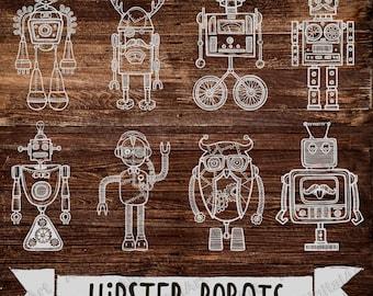 9 Hipster Robots, Steampunk clipart, Kids Robots clipart, Robot clipart, rainbow Robots clipart,funny Robots,digital alien,digital Robots