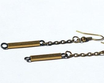 Minimal Earrings- Brass Chain Earrings, Simple Brass Bar Earrings, Minimalist Jewelry, Modern Minimal Jewelry, Boho Jewelry, Salvaged Brass