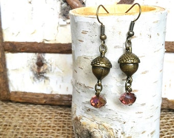 Woodland Acorn Earings, Antiqued Brass Tone