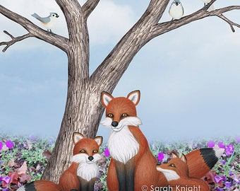 fox, cubs, and tufted titmice - art print 8X10 inches by Sarah Knight, nature scene leaf litter petunias trees birds titmouse animal family