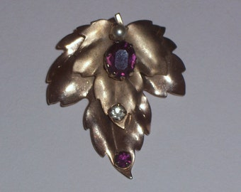 Vintage Brooch or Pin with Red Rhinestone Center