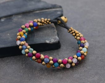Beaded Bracelets Woven Weaving Candy Round Brass