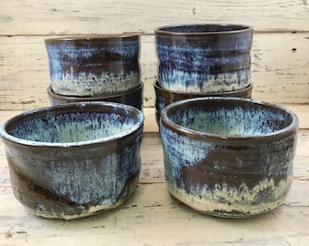 Pottery, Wheel Thrown Handmade Stoneware Ceramic Bowls, Mugs,Tumblers 6 Piece Set
