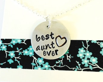 Aunt Necklace, Best Aunt Ever Necklace. Family Necklace Hand Stamped Personalized Necklace, Custom Aunt Necklace