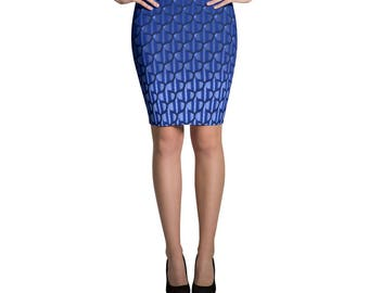 Blue Dragon Scale Pencil Skirt