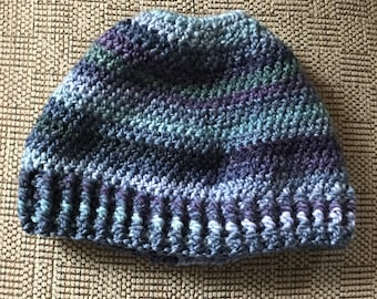 Messy Bun Hat, pony tail hat, Adult hat, Hat with Hole, Winter Hat, Hat, adult hat for messy buns, Jogging Hat, blue striped hat