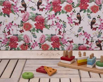 Floral Wallpaper, Watercolor Wall Paper, Peel and Stick Wallpaper Floral , Colorful flowers wall  mural , Floral Decal , Nursery Wallpaper