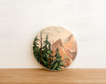 Paint by Number Circle Art Block 'Mountain Evergreen' -  vintage landscape, evergreens, mountain peaks