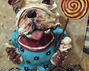Whimsical Folk Art English Bulldog Doll Ooak Vintage Style Lolly Nostalgic Vintage Oustside Art