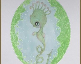 Original art seahorse fantasy lowbrow art