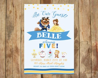 Beauty and the Beast Party Invitation - 5x7 DIGITAL FILE - Personalized Printable - Watercolor, Belle, Be Our Guest Birthday Party