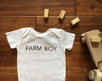 Farm Boy | Infant Bodysuit | Long-sleeve | Short-sleeve | 100% Cotton | Welcome Baby | Baby Boy | Country Boy | Size Preemie to 24 Months