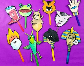 Ten Plagues PUPPETS - fun printable passover puppets - a Pesach toy for kids - Full Color Version - Instant Download