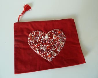 Red fabric with heart bead red and white pouch