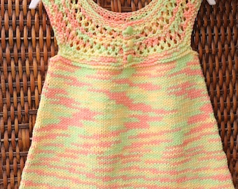 Little girl sun dress, spring and summer cotton sleeveless dress, Easter dress, 2T toddler knitwear, yellow, green, orange dress