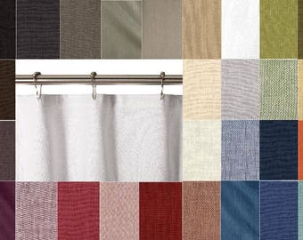 30 COLORS 100% Washed Linen Shower Curtain 72 X 72, 84, 96, 108 Custom Extra Long Extra Wide white gray natural green blue red tan rust