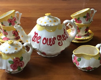 Belle Beauty & the Beast // Tea set for Little girls // Be Our Guest Child's sized tea Set, handpainted // princess tea party