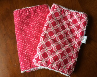 Burp Cloths - Pink Designer Baby Burp Cloths Set of 2