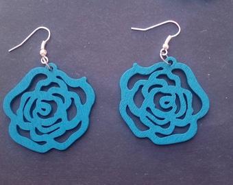 Rose shaped wood earrings