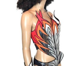 Flame shape corset bustier top, fetish rock gothic goth corset armour