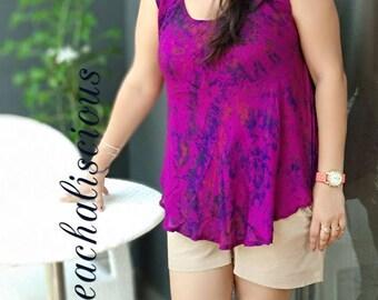 Royal Purple Beach Cover Up Women's Swimsuit Silk Cover Ups Pareo Bathing Suit Tie dye Shirt Dress, Batik Swim Dress, tunics, Handmade Gift