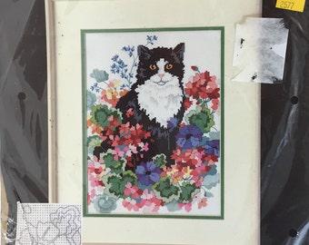 "Dimensions 3937, Cat Cross Stitch, Black Cat, Cat in Flowers, No Count, Cross Stitch, ""Cat in a Flower Patch"",  Kit from 1989"